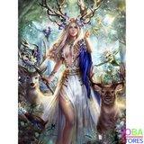 """Diamond Painting """"JobaStores®"""" Elfjes en Herten - volledig - 50x60cm"""