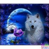 Diamond Painting Witte Wolf 40x30cm_