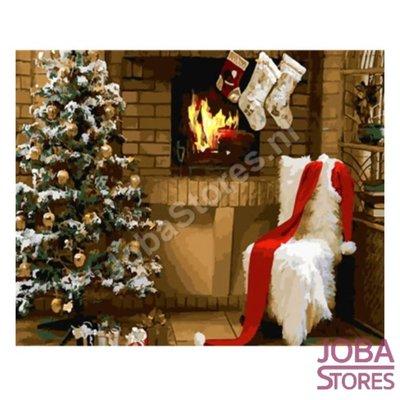 OP=OP Schilderen op nummer Kerst Haard 40x50cm