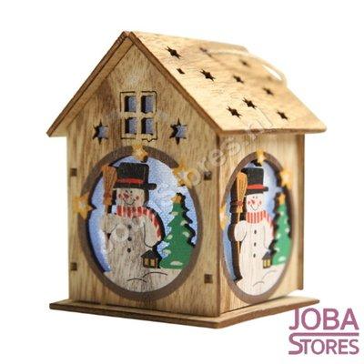 Mini Houten Kerst Huisje met verlichting Sneeuwpop