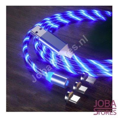 Câble USB magnétique avec éclairage et 3 fiches (bleu)