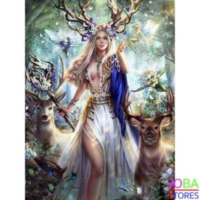 Diamond Painting Elfjes en Herten 50x60cm