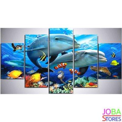 Diamond Painting Dolfijnen 5 luiks 75x40cm