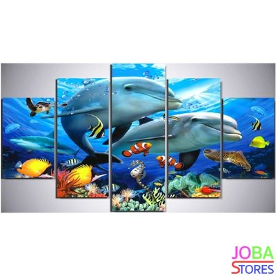 Diamond Painting Dolfijnen 5 luiks 100x55cm