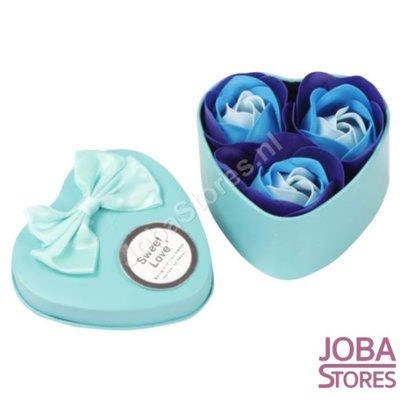 Zeep Roosjes Hart met 3 roosjes (Blauw)