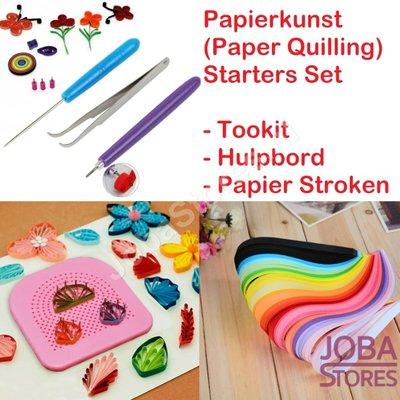 Papierkunst (Paper Quilling) starters set (Toolkit, Hulpbord & Stroken)