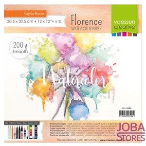 "Aquarelpapier ""Florence"" ivoor smooth 200g 30,5x30,5 (10 stuks)"